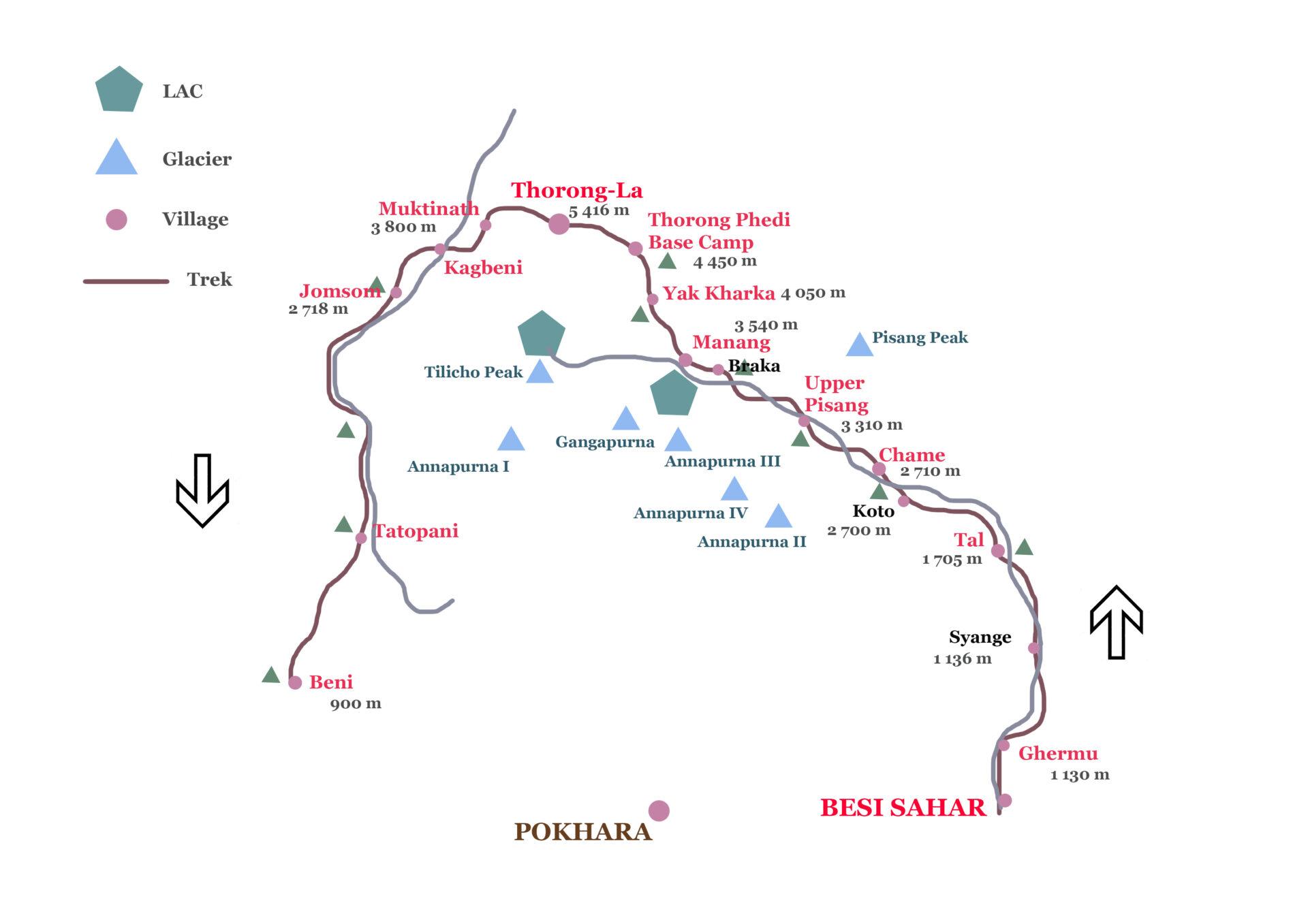 Itinéraire du trek du tour des Annapurnas